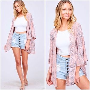 🆕Pink Snake Print Open Front Cardigan